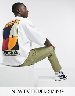 ASOS Daysocial oversized T-shirt with multi placement graphic and logo prints in white