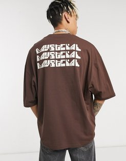ASOS Daysocial oversized t-shirt with repeat back logo print in brown