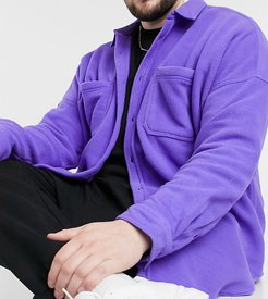 ASOS Daysocial plus oversized dropped shoulder polar fleece shirt in purple