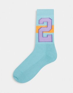 ASOS Daysocial sport socks with a number 2 graphic-Multi