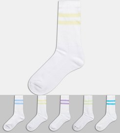ASOS DESGN sport socks with multi color stripe 5 pack-White
