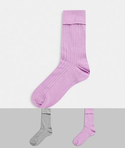2 pack fold top rib socks in purple and gray-Multi