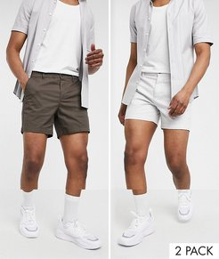 2 pack skinny chino shorts in brown and light gray save