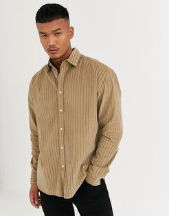 90s oversized shirt in stripe cord-Brown