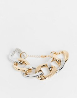 bracelet in chunky design in mixed metals-Multi