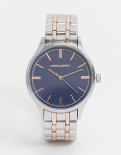 bracelet watch with blue face in silver and gold tone-Multi