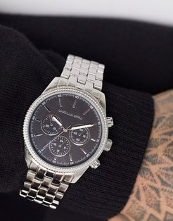 bracelet watch with matte and shiny design in silver tone