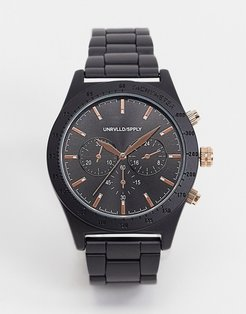 bracelet watch with rose gold detail in black