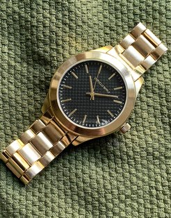 bracelet watch with textured face in gold tone