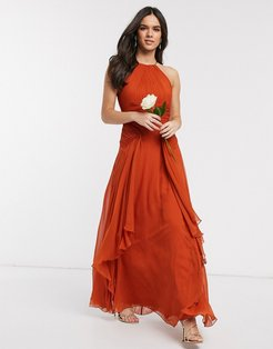 Bridesmaid pinny maxi dress with ruched bodice and layered skirt detail-Orange