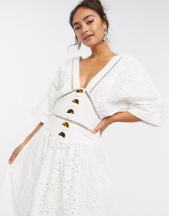 broderie button through midi dress with lace inserts in white