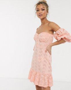 broderie off the shoulder cupped mini sundress with tiered hem in pink