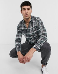 brushed flannel plaid overshirt in gray and green-Grey