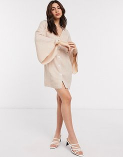 button through linen look mini dress with fluted sleeve in stone-Beige