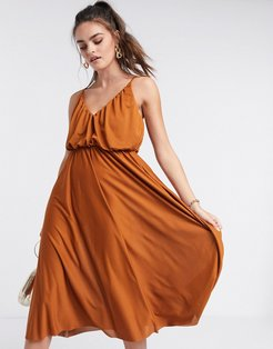 cami plunge midi dress with blouson top in rust-Multi