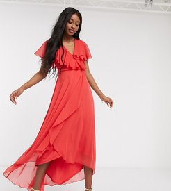 cape back dipped hem maxi dress in red