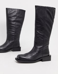 Charly premium leather trucker knee boots in black