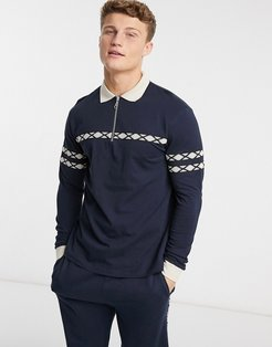 co-ord long sleeve polo shirt with zip neck and taping in navy