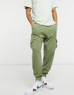 co-ord oversized sweatpants with cargo pockets in washed green