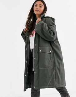 coated parka with contrast stitch detail in khaki-Green