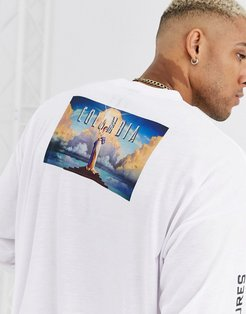 Columbia Pictures oversized long sleeve t-shirt with back and body print-White