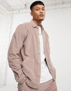 cord overshirt set in pink