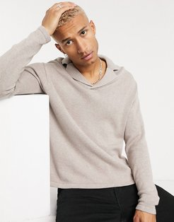 cotton oversized polo revere sweater in putty-Beige