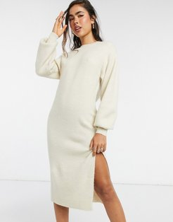 crew neck midi dress with volume sleeve-White