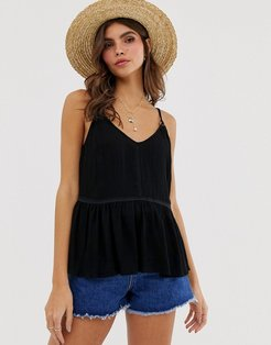 crinkle cami with lace inserts and ring detail sun top-Black