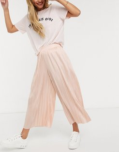 culotte pants in pleated satin-Pink