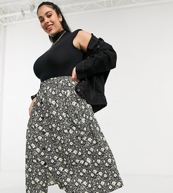 ASOS DESIGN Curve button through midi skirt with deep pocket detail in blurred floral print-Multi