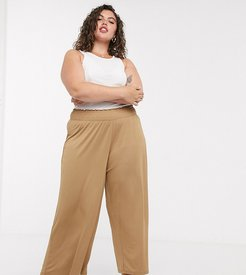 ASOS DESIGN Curve culotte pants with shirred waist in sand-Neutral