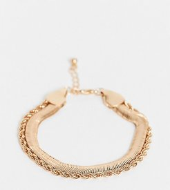 ASOS DESIGN Curve multi strand bracelet with vintage style flat snake chain in gold tone