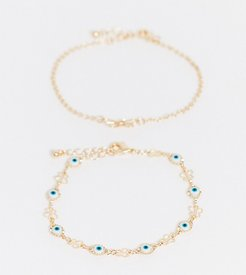 ASOS DESIGN Curve pack of 2 bracelets with butterfly and eye charms in gold tone