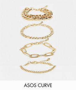 ASOS DESIGN Curve pack of 4 bracelets mixed chunky chains in gold tone