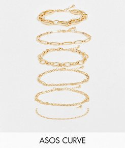 ASOS DESIGN Curve pack of 6 bracelets in mixed chain design in gold tone