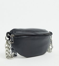 ASOS DESIGN CURVE PU fanny pack with chunky chain in black