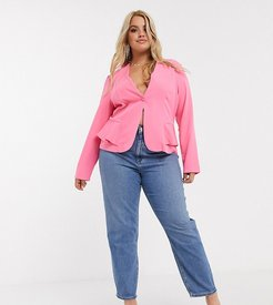 ASOS DESIGN Curve recycled high rise farleigh 'slim' mom jeans in mid vintage wash-Blue