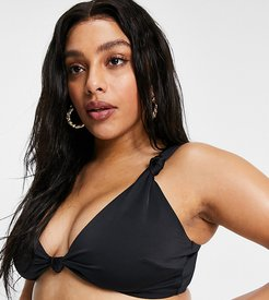ASOS DESIGN curve recycled mix and match knot crop bikini top in black