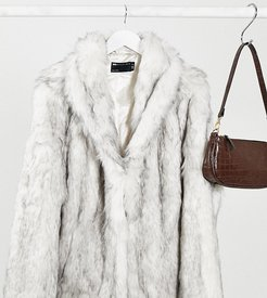 ASOS DESIGN Curve stand faux fur collar coat in white-Gray