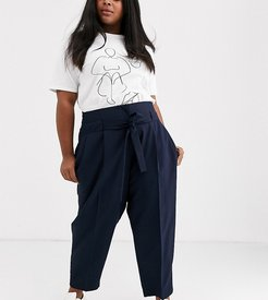 ASOS DESIGN Curve tailored tie waist tapered ankle grazer pants-Navy