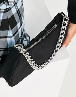 curved 90s shoulder bag with chain strap in black