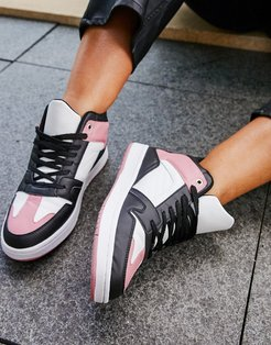 Dante high top lace up sneakers in black & pink-Multi