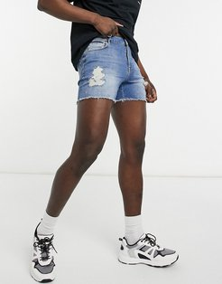 denim short shorts in mid wash blue with rips-Blues