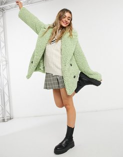 double breasted teddy borg coat in mint-Green