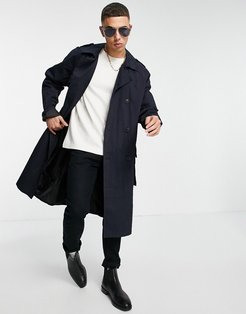 double breasted trench coat in navy