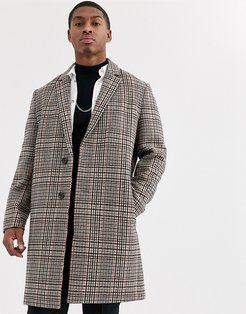 double breasted wool mix jacket in orange check