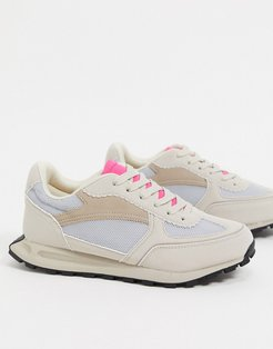 Duncan lace up sneakers in beige/ pink-Neutral