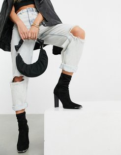 Electra high heeled ankle sock boots in black