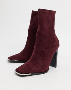 Electra high heeled ankle sock boots in burgundy-Red